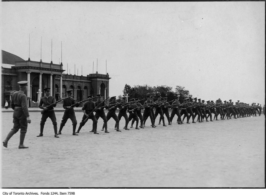 Bayonet drill, CNE military camp. - [ca. 1915]