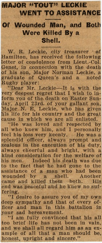 Letter of Condolence, Whig 16 May 1916